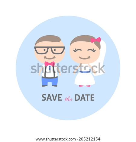 wedding invitation with a hipster couple, flat style - stock photo