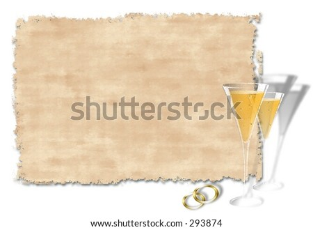Wedding invitation with champagne glasses ,bands . - stock photo