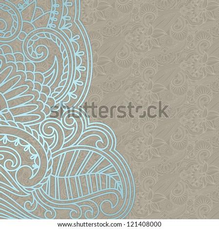 Wedding invitation with vintage pattern. - stock photo