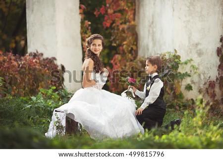 Wedding Kids Couple Small Bride Groom Stock Photo Edit Now