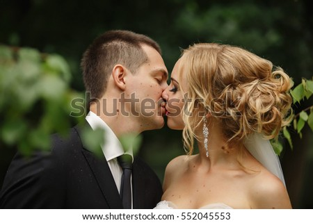 Wedding kiss stock images royalty free images vectors wedding kiss close up portrait of young kissing bride and groom junglespirit Image collections