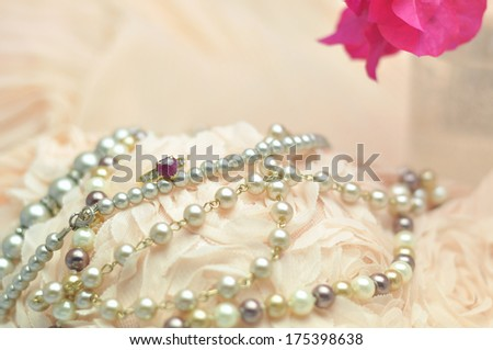 Wedding lace and pearl , close up the ring - stock photo