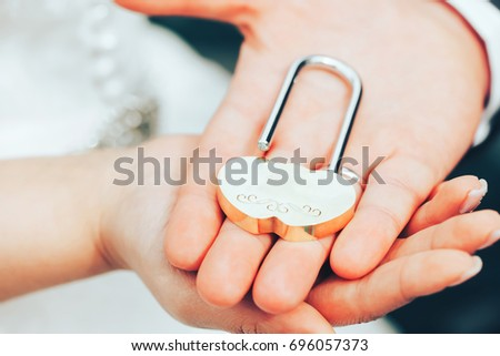 Wedding Lock Symbol Marriage Hands Bride Stock Photo 696057373