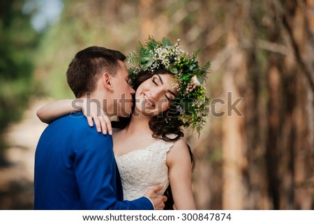 Wedding, love, beautiful wedding, happy, kiss - stock photo