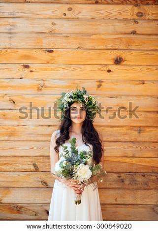 Wedding, love, beautiful wedding, happy, kiss, wedding bouquet - stock photo