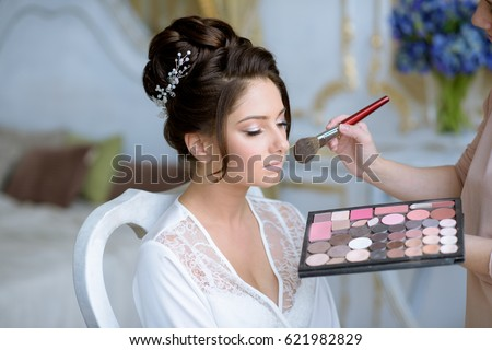 Wedding Makeup Artist Making Make Bride Stock Photo 621982829 ...
