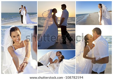 Wedding montage of a married couple, bride and groom, together at sunset on a beautiful tropical beach - stock photo