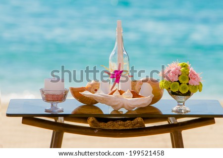 wedding on beach, tropical outdoor wedding set up decoration details - stock photo