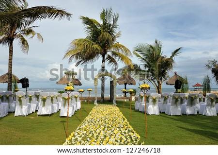 Wedding on the beach, Tropical settings for a wedding on a beach - Bali island - stock photo