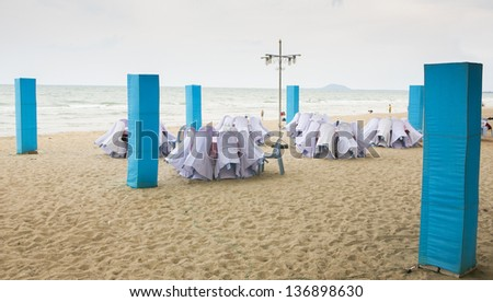 Wedding on tropical beach - stock photo