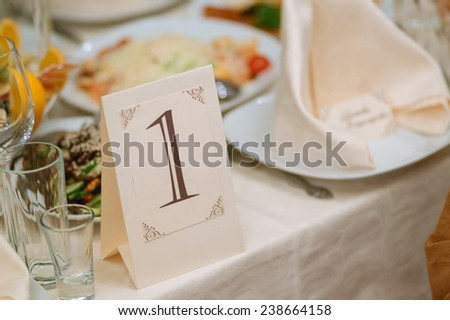 Wedding or anniversary banquet table decoration  - stock photo