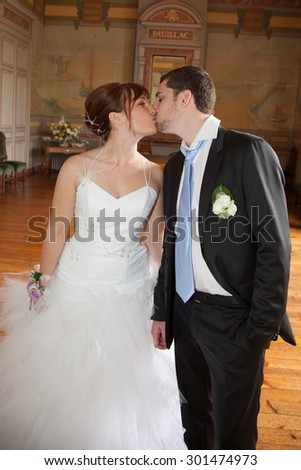 wedding pair hugging and kissing