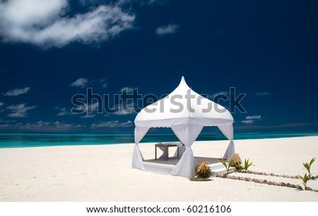 wedding pavilion at a beautiful beach - stock photo