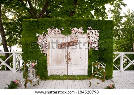 wedding photo-booth decoration - stock photo