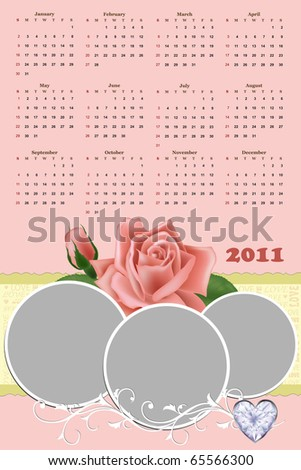 Wedding photo frame with calendar for year 2011 - stock photo