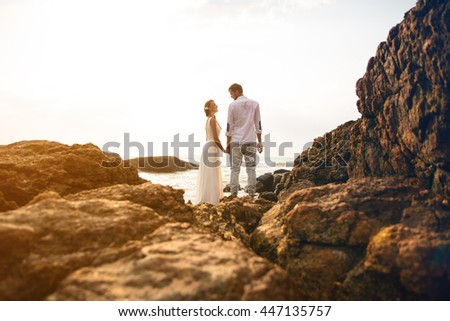 Wedding photo in indian ocean Sri Lanka sunny  tonning