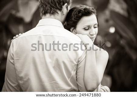 wedding photography is very beautiful couple. Black and white - stock photo