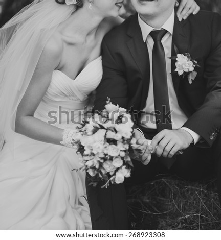 Wedding picture in black and white, couple in love. - stock photo
