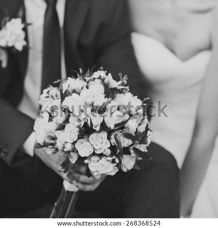 Wedding picture in black and white, newlywed couple together.  - stock photo