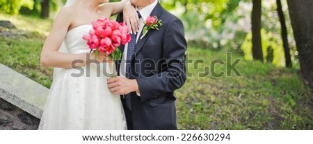 Wedding picture. Newlywed couple together.