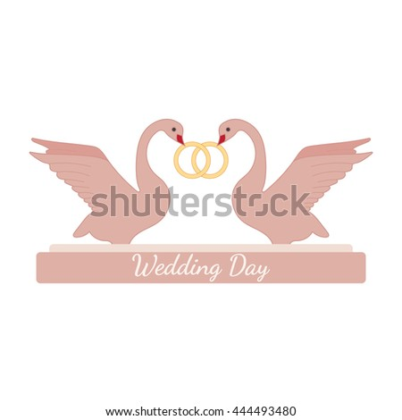 Wedding pink swans hold gold rings over white. Element for your wedding designs, valentine s day projects, and other your romantic projects. - stock photo