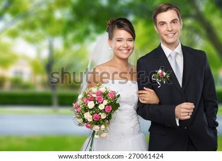 Wedding. Pink Wedding Portraits - stock photo