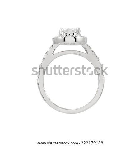 Wedding platinum diamond ring isolated on white background - stock photo