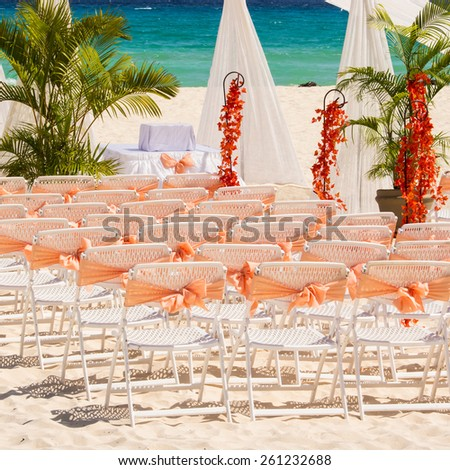 Wedding preparation on Mexican beach against a background of beautiful sea - stock photo