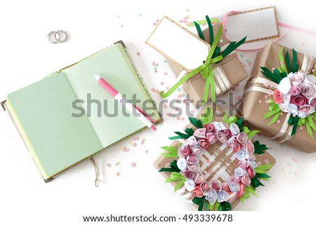 Wedding preparations. Gifts in colorful packaging with ribbons.