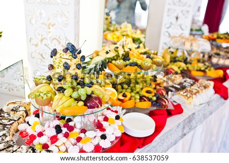 Wedding Reception Catering Table Different Fruits Stock Photo ...