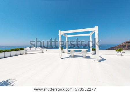 wedding reception dana villa santorini greece stock photo edit now