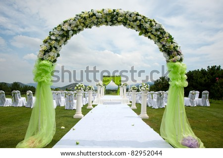 Wedding reception overview - stock photo