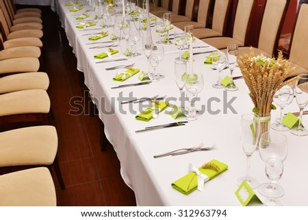 Wedding reception place ready for guests. - stock photo