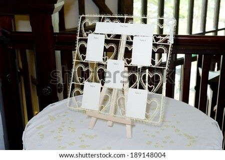 Wedding reception seating plan closeup on table with decoration