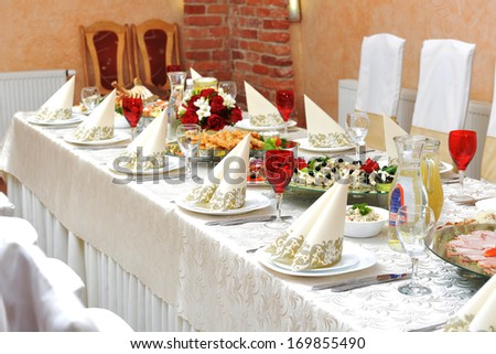 Wedding reception. tableware and food waiting for guests & Wedding Reception Tableware Food Waiting Guests Stock Photo (Royalty ...
