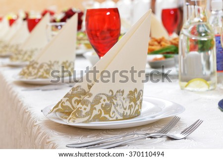 Wedding reception. tableware and food waiting for guests - stock photo