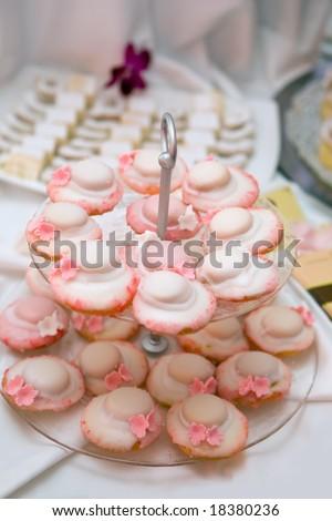 Wedding reception with cakes - stock photo