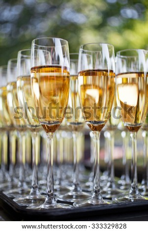 Wedding reception with sparkling wine or champagne - stock photo