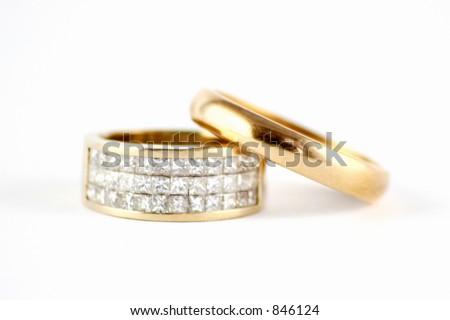 Wedding Ring Band With Diamonds - stock photo