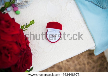 Wedding ring in a red box on the table