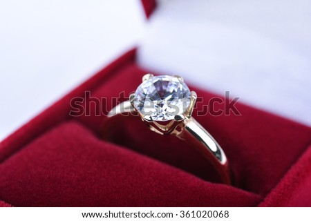 Wedding ring in a red gift box - stock photo
