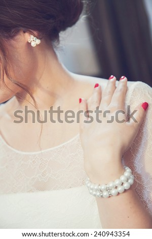 Wedding ring, jewelry and bride - stock photo