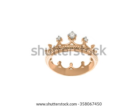 Wedding ring with diamond isolated on white... - stock photo