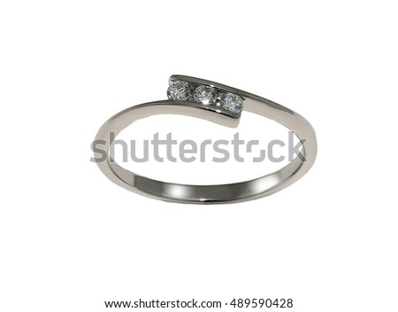 Wedding ring with diamond isolated on white...