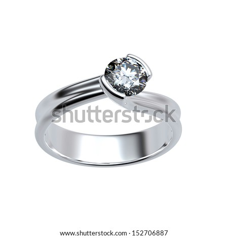 Wedding Ring with diamond isolated on white background