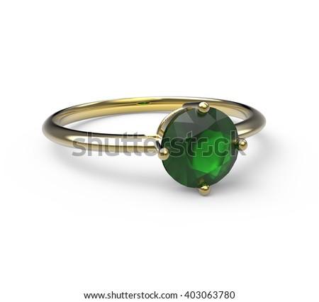 Wedding ring with diamond isolated on white background. Fashion jewelery. 3d digitally rendered illustration - stock photo