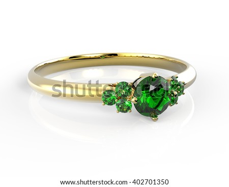 Wedding ring with diamond isolated on white background. Fashion jewelery. 3D rendering - stock photo
