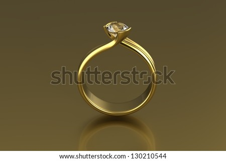 Wedding ring with diamond on gold  background. Sign of love