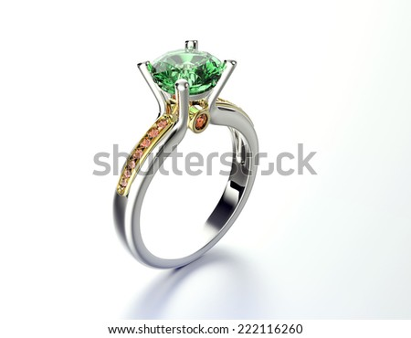 Wedding Ring with Emerald Fashion Jewelry background