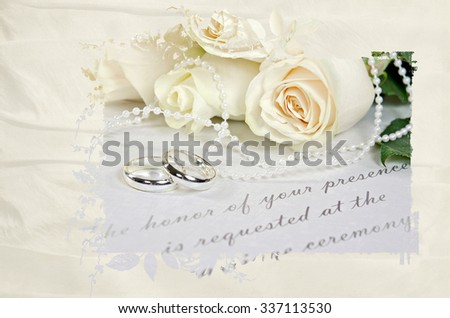 wedding rings and rose bouquet on wedding invitation with silk mask frame - stock photo